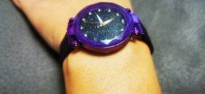 Reloj analógico negro-lila