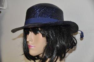 Chapeau melon bleu foncé tissu mixte
