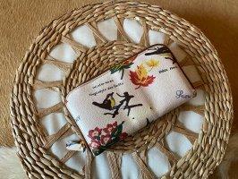Toller Dsquared2 geldbeutel Geldbörse Portmonee weiß bunt floral Vogel aus Leder