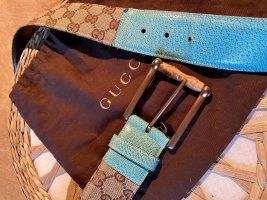 Toller Gucci Supreme Gürtel Mit Bambus & Leder beige Braun Türkis