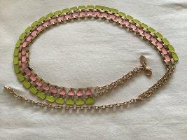 Cinturón de cadena verde pradera-rosa claro