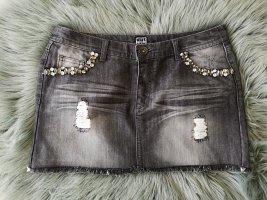 Jupe en jeans gris coton