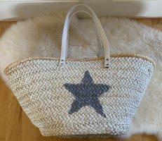 Bolso tipo cesta blanco-color plata