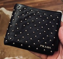 Prada Wallet black-silver-colored leather