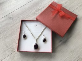 Necklace silver-colored-dark red