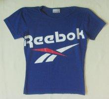 Tolles T-Shirt, Sportshirt von REEBOK mit auffälligem Logo-Druck in Blau, Größe Medium, DE 38