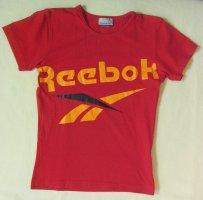 Tolles T-Shirt, Sportshirt von REEBOK mit auffälligem Logo-Druck in Rot, Größe Medium, DE 38
