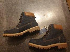Tom Tailor - Schnürstiefelette Stiefelette Boots - blau jeans denim - Gr. 39 NEU