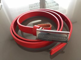 Tommy Hilfiger Leather Belt red-silver-colored