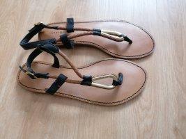 Tommy Hilfiger Toe-Post sandals black-gold-colored leather