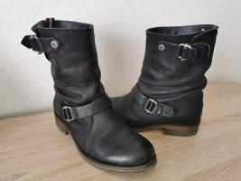Tommy Hilfiger Stiefeletten Schwarz Biker-Boots Echtleder