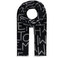 Tommy Hilfiger Tuch Halstuch Schal Logo-Print Fransen schwarz weiß