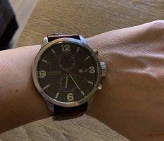 Tommy Hilfiger Watch With Leather Strap dark brown-brown