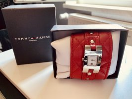 Tommy Hilfiger Watch With Leather Strap dark red