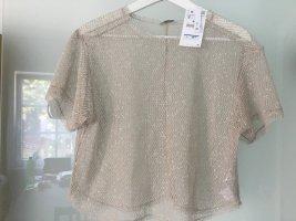 Zara Kanten topje licht beige Polyester