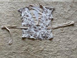 Maglietta aderente bianco sporco-marrone scuro