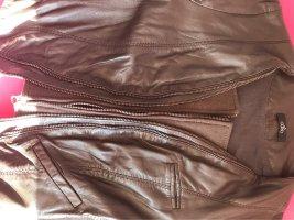 Aaiko Biker Jacket black brown leather