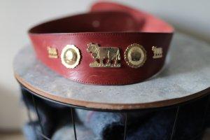 ECHT LEDER Cinturón de cuero carmín Cuero