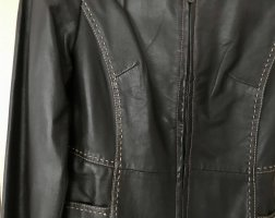 Barisal Veste en cuir brun noir