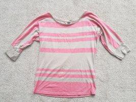 Top Oberteil 3/4 Arm Shirt in rosa beige gestreift