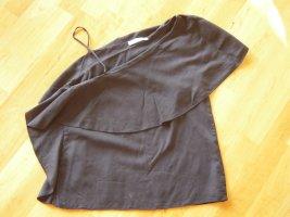 Zara One Shoulder Top black lyocell