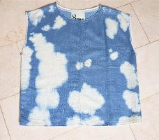 8PM Top koszulowy niebieski neonowy-biały Bawełna