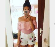 Top Shirt rosa XS off shoulder Volants blogger hipster boho