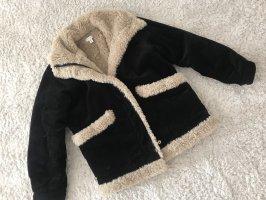 Topshop Fake Fur Jacket black-oatmeal