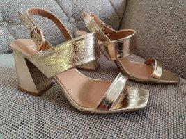 Topshop sandalen gr. 38 gold neu sandaletten riemchen blickabsatz schuhe
