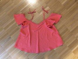 Topshop Cowl-Neck Top neon pink-salmon