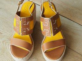 Tory Burch Espadrille Sandals gold orange-light brown leather