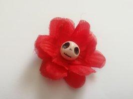Totenkopf mit Blume Muerta Haarblüte Haarblume Rockabella Style rot