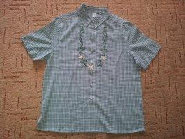 Trachten Bluse Hemd grün weiß Stickerei Gr. 40 NEU