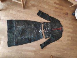 Vestido de cuero taupe-marrón grisáceo