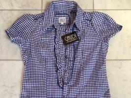 Gaudi Folkloristische blouse wit-donkerblauw