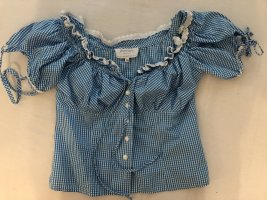 Angermaier Folkloristische blouse wit-blauw