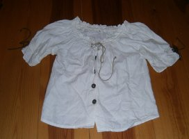 Blusa tradizionale bianco sporco-bianco Lino