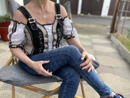 Fuchs Trachtenmoden Blusa tradizionale beige chiaro-nero