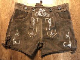Pantalone in pelle tradizionale marrone-marrone chiaro Pelle