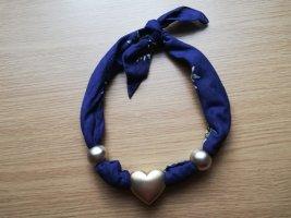 Colliers ras du cou bleu-doré coton
