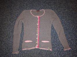 Trachtenstrickjacke grau/rosa 36