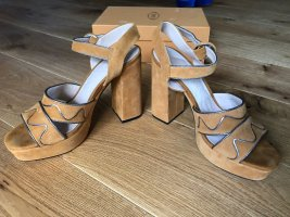 Mango Plateauzool sandalen zandig bruin-zilver