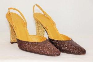 Bottega Veneta Escarpin à bride arrière brun sable-brun foncé cuir