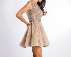 Sherri Hill Babydoll-jurk stoffig roze-zilver