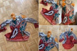 Trendige Blüten-Bluse/Tunika - Größe M 36/38 - OffShoulder - DarkRed/Color