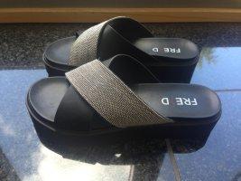 Comfort Sandals black-silver-colored synthetic fibre