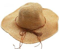 Sombrero de ala ancha marrón arena-marrón