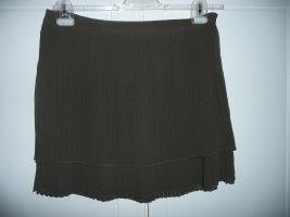 Tru Trussardi kurzer Plissee Rock Skirt in Dunkelbraun zweilagig Gr 38