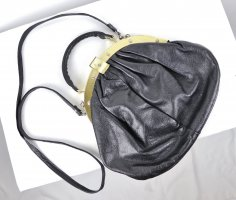 Vintage Beugeltas zwart-zilver Leer
