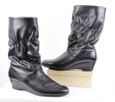 True Vintage 80er Wedges Slouch Stiefel Winterstiefel Größe 41 Schwarz Leder Plüsch Futter